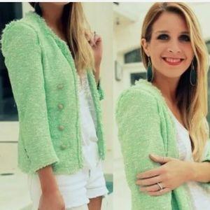 Zara Mint Green Military Blazer Tweed Boucle